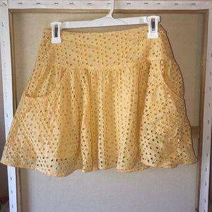 Golden yellow crochet skirt with pockets